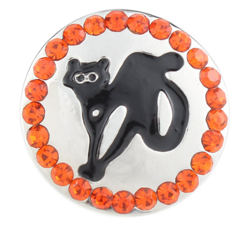 Diva Dot Snap Button, Halloween Cat