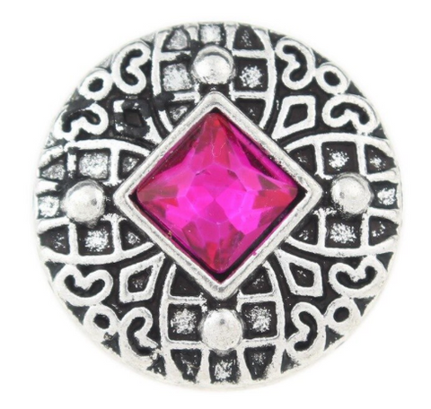 Diva Dot Snap Button, Pink Crystal square