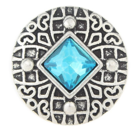 Diva Dot Snap Button, Blue Square Crystal