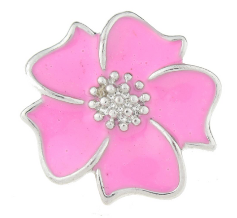 Diva Dot Snap Button, Pink Flower