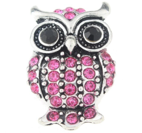 Diva Dot Snap Button, Pink Crystal Owl
