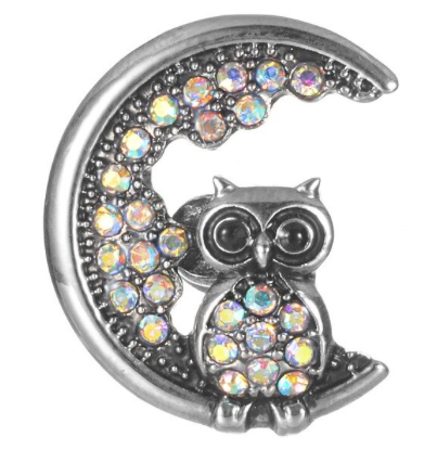 Diva Dot Snap Button, Owl In Moon