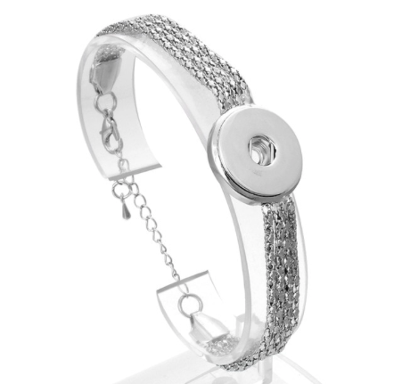 Snap Button Bracelet, Triple Strand Silver Tone