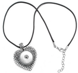 Snap Button Necklace, Heart with Crystals & Leather Chain