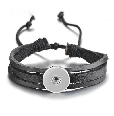 Snap Button Bracelet, Unisex Black Leather Adjustable