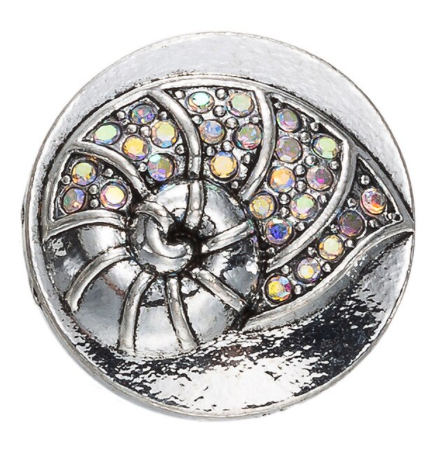 Diva Dot Snap Button, Sea Shell With Opaque Crystals
