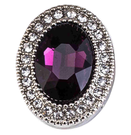Diva Dot Snap Button, Decorative Oval Purple & Clear Crystals