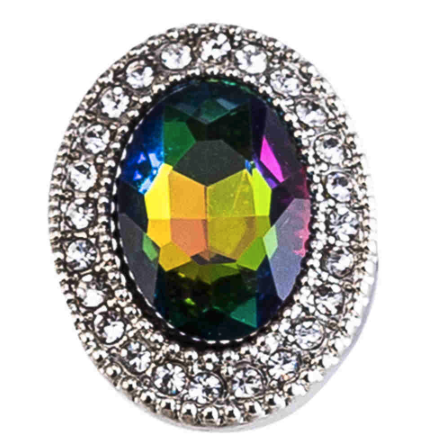 Diva Dot Snap Button, Oval Multi Color Crystal