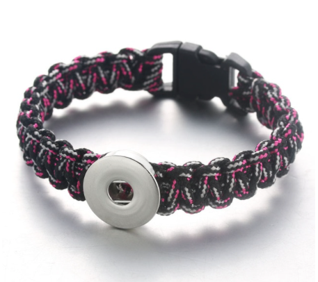 Snap Button Bracelet, Unisex, Rope Black, White & Pink