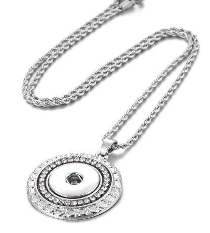 Necklace, Round Crystal Pendant