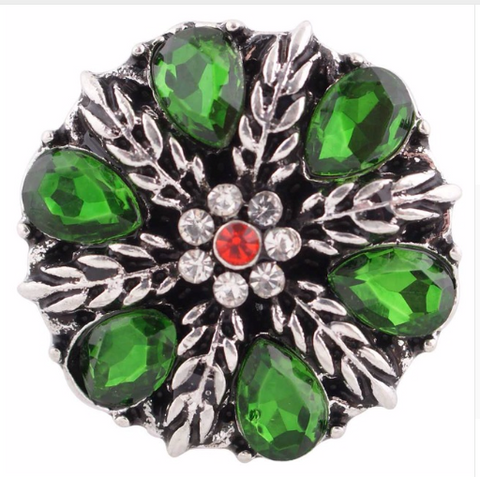 Diva Dot Snap Button, Green, Red & Clear Crystal