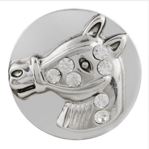 Diva Dot Snap Button, Horse with Crystals
