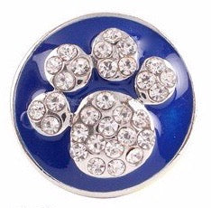Diva Dot Snap Button, Crystal Paw w/ Blue Background