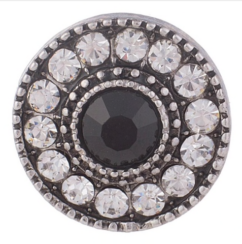 Diva Dot Snap Button, Black Crystal Surrounded in Rhinestones