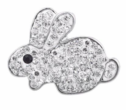 Diva Dot Snap Button, Bunny, Crystal