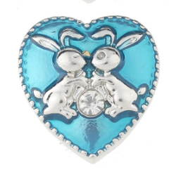 Diva Dot Snap Button, Blue Heart With Bunnies