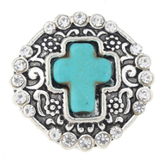 Diva Dot Snap Button, Cross, Turquoise