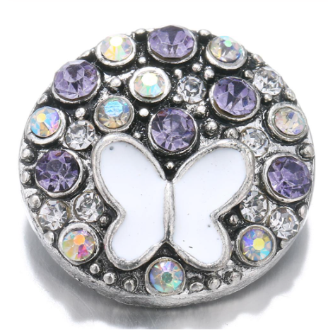 Diva Dot Snap Button, Butterfly With Purple Crystals
