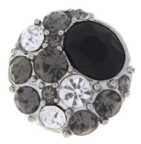 Diva Dot Snap Button,  Black  Bubbles