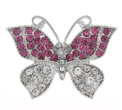 Diva Dot Snap Button, Butterfly, Pink and Clear Crystals