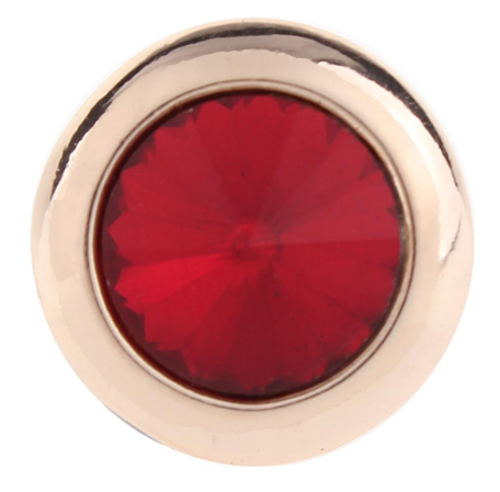 Diva Dot Snap Button, Rose Gold With Red Crystal