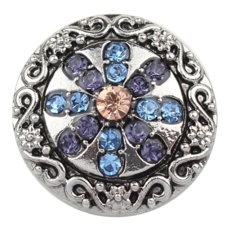Diva Dot Snap Button, Blue & Purple Crystal Flower