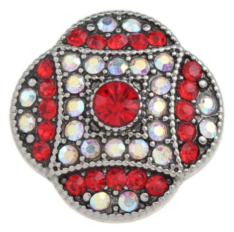 Diva Dot Snap Button, Red & Clear Crystals
