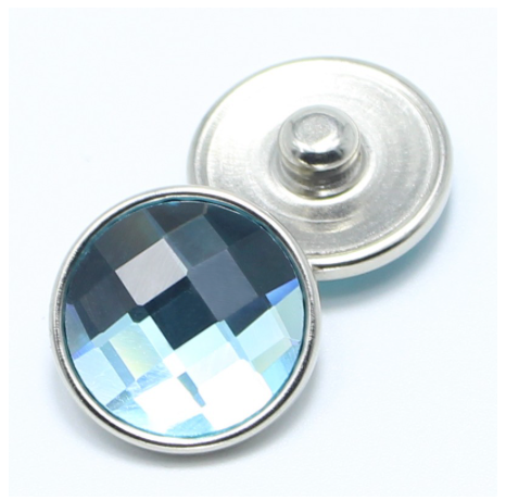 Diva Dot Snap Button, Light Blue Crystal