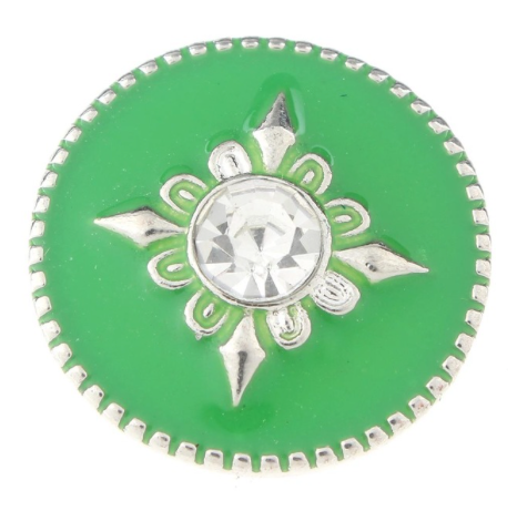 Diva Dot Snap Button, Green With Crystal
