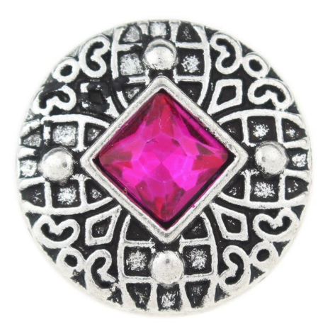 Diva Dot Snap Button, Magenta Crystal