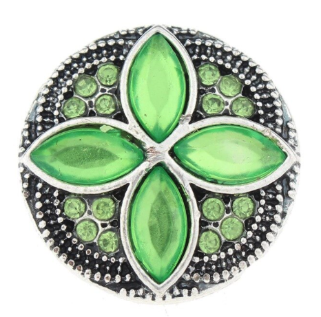 Diva Dot Snap Button, Green Crystals