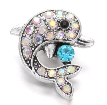 Diva Dot Snap Button, Crystal Dolphin