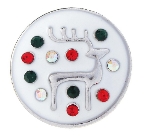 Diva Dot Snap Button, Reindeer With Crystals
