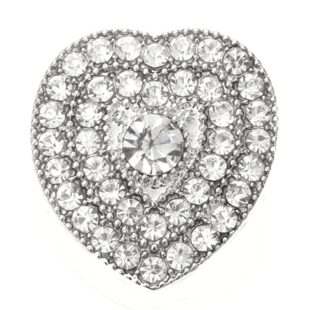Diva Dot Snap Button, Clear Crystal Heart