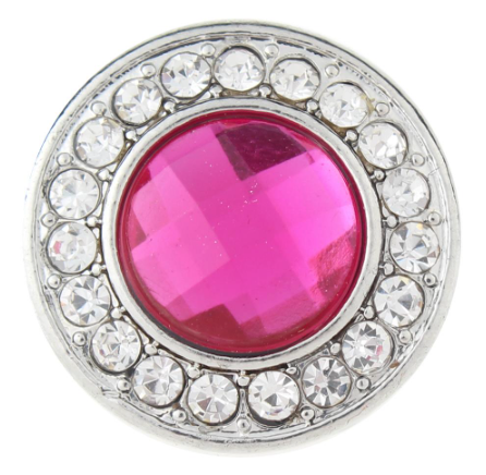Diva Dot Snap Button, Pink Decorative Crystal