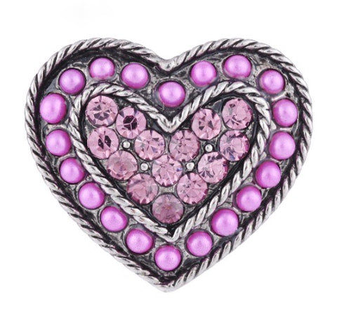 Diva Dot Snap Button, Purple Heart Crystal & Beads