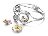 Snap Button Bangle Bracelet, Spring Hinge