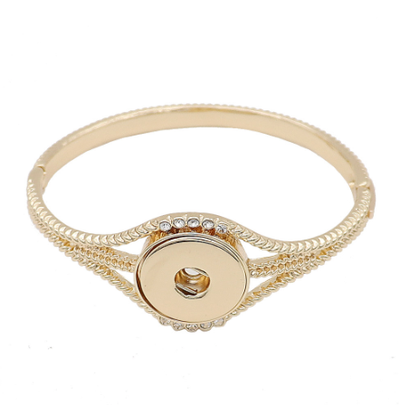 Snap Button Bracelet, Gold Tone