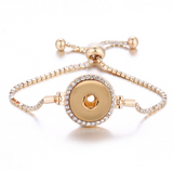 Snap Button Bracelet,  Gold Tone With Crystals
