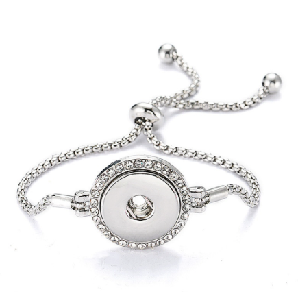 Snap Button Bracelet, Silver Tone Slide With Crystals