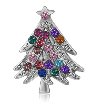 Diva Dot Snap Button, Crystal Christmas Tree