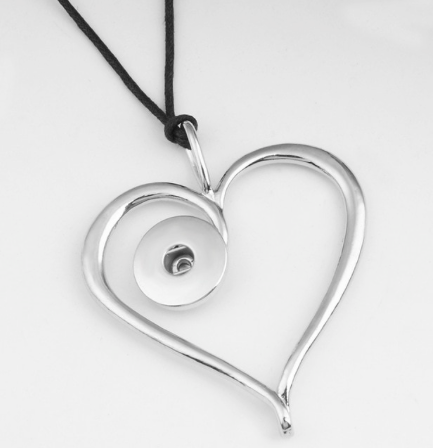 Snap Button Heart Necklace With Leather Chain