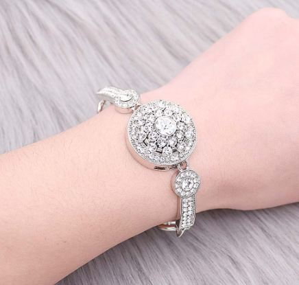 Snap Button Bracelet, Chain With Crystals
