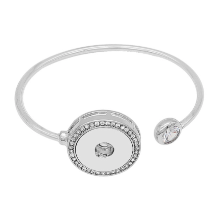Snap Button Bracelet,Open Bangle