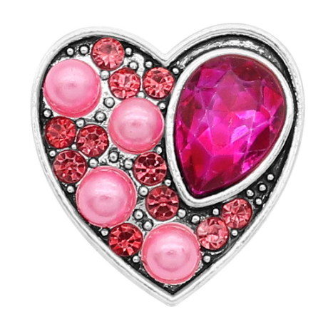 Diva Dot Snap Button, Heart Shape, Pink Pearls and Crystal