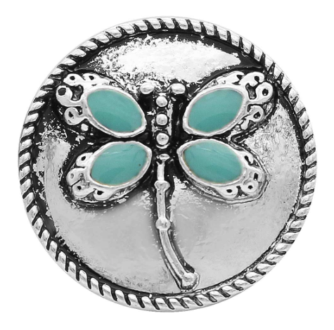 Diva Dot Snap Button, Blue Butterfly
