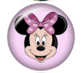 Dina Dot Snap Button, Minnie Mouse, Pink, Glass