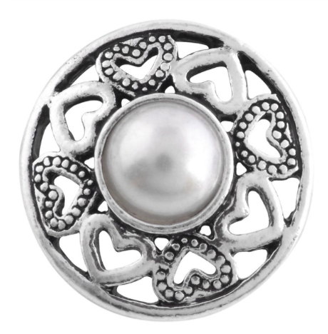 Diva Dot Snap Button, Pearl With Hearts