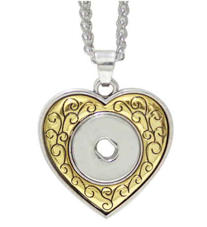 Snap Button Necklace, Heart With Gold and Silver Tones