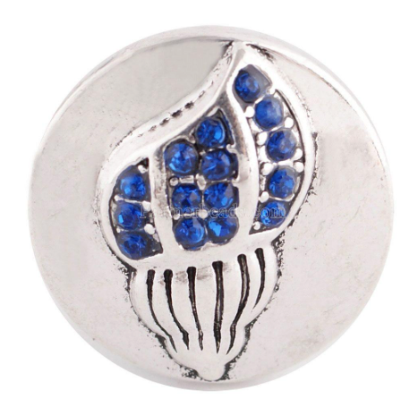 Diva Dot Snap Button, Shell With Blue Crystals